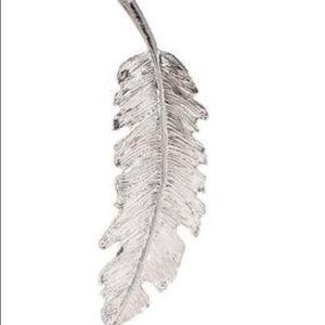 Feather Silver Tone Metal Hair Clip